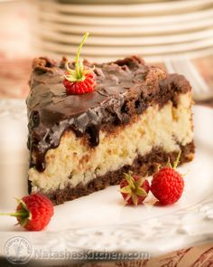 A cheese filling sandwiched between layers of chocolate. Mmmm... @NatashasKitchen