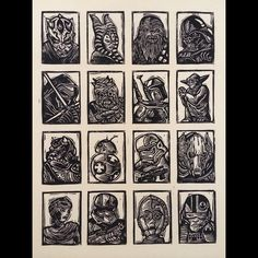 Test print for Star Wars: Journey to the Force Awakens sketch trading cards by Topps #linocut #printmaking #starwars #topps #tradingcards #forceawakens #attacktheplanet by brianreedy