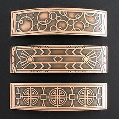 Barrettes Copper Hair Barrettes - Large Decorative Etched Metal