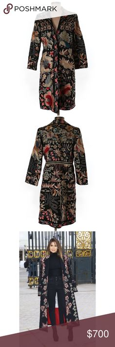 """BIYA - Johnny Was Embroidered Silk Coat Vintage, Extravagant & Rare Flower Silk Coat. Excellent condition. This statement piece reminds me of Dolce & Gabbana - very stylish. Size Medium 100% Silk Bust 36"""" Length from Shoulders to Hem 37.5 inches. Could fit a size 4-8 comfortably. More pictures coming soon. Anthropologie - Dolce & Gabbana - BIYA . True Statement Piece. No Trades on this item. Last photos used for styling purposes. Anthropologie Jackets & Coats Silk Coat, Embroidered Silk, Fashion Tips, Fashion Design, Fashion Trends, Unusual Flowers, Photos, Pictures, Stylish"""
