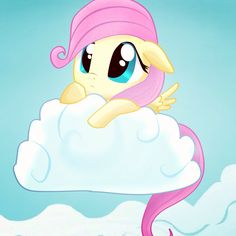 Fluttershy on a cloud being cute :3
