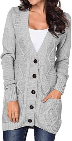 Shop a great selection of Cromoncent Women Vogue Cable Knit V Neck Button Front Casual Cardigan Sweater. Find new offer and Similar products for Cromoncent Women Vogue Cable Knit V Neck Button Front Casual Cardigan Sweater. Cable Knit Cardigan, Cardigan Sweaters For Women, Sweater Coats, Cardigans For Women, Sweater Cardigan, Women's Sweaters, Ladies Sweaters, Women's Cardigans, Tricot