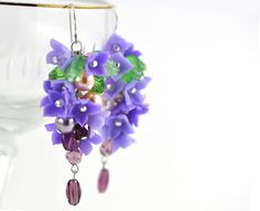 """Earrings """"Blossoming lilac"""" 925 Sterling Silver French Hooks  Polymer Clay  Swarovski Pearls Czech glass beads  Flower Jewelry Pastel. via Etsy."""