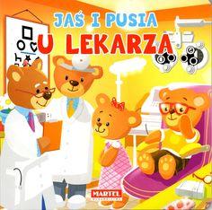 Dwa małe misie, Jaś i Pusia, poznają lekarzy. Odwiedzają szpital, dentystę, laryngologa i okulistę. Dzięki książeczce dzieci dowiadują się, jak wyglądają badania u tych lekarzy.