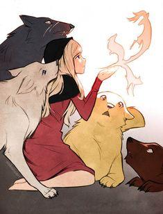 Shira among the wolves Anime Wolf, Thicc Anime, Sad Anime, Female Anime, Anime Demon, Kawaii Anime, Animal Drawings, Cute Drawings, Wolf Artwork