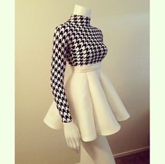 houndstooth. circle skirt. black and white. b&w. classic.