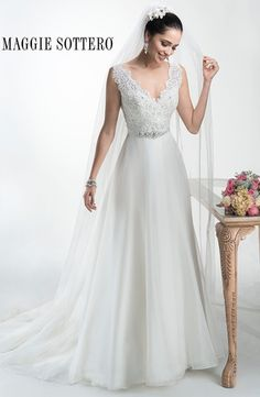 V-Neck A-Line Wedding Dress  with Natural Waist in Organza. Bridal Gown Style Number:32969271