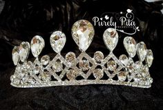 Bridal Wedding Moon Crystal Crown. Austria Crystals Wedding Bridal Headpiece Tiara with loop. Pageant Crystal Tiara. Prom Crown