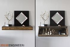 Step-By-Step: How to build a floating shelf with a secret hidden storage compartment.