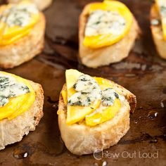 Peaches and Honey Crostini with Melty Blue Cheese // Make this now!