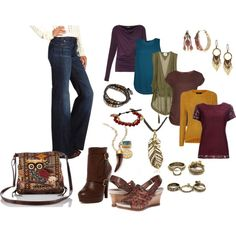 A fashion look from October 2014 featuring short sleeve lace top, drapey tops and brown blouse. Browse and shop related looks.