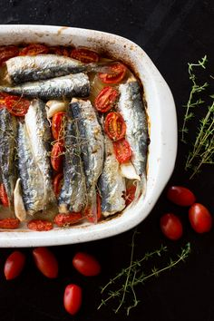 Baked sardines with pomodori tomatoes, thyme & garlic- The Tasty Other