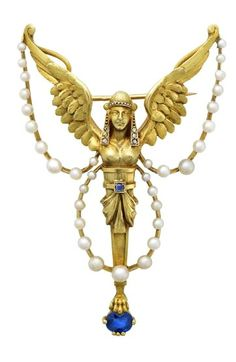 Pierre Vuilleret Belle Époque Pearl, Sapphire and Diamond Sphinx Pin