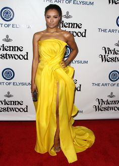 Kat Graham attends The Art of Elysium 2016 HEAVEN Gala presented by Vivienne Westwood & Andreas Kronthaler at on January 2016 in Culver City, California. Gala Dresses, Red Carpet Dresses, Nice Dresses, Formal Dresses, Celebrity Red Carpet, Celebrity Look, Sequin Gown, Shoulder Cut, Celebrity Outfits