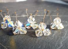 crystal trio hair pin for wedding or prom set by whirligigbridal, £12.50