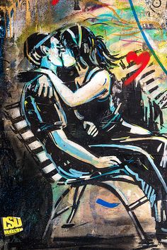 """"""" Les amoureux qui s'bécotent sur les bancs publics..."""" ( Georges Brassens ) / Lovers on public benches. / Street art. / Londres, UK. / Photo by The Global Canvas. / Art by Alicè. / On Flickr."""