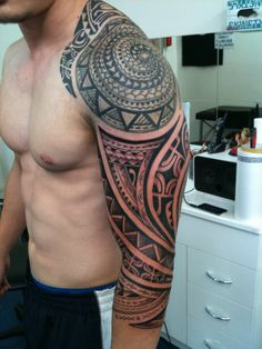 I like this polynesian spiral originating where it does on his shoulder