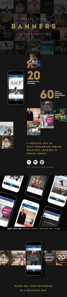 Fashion edition Social Media banners pack offers 20 different unique trendy fashion style designs for upgrading your online shop's social media post or sales promotion on Facebook, Instagram and Pinterest. All banners are fully editable with colour, font,…