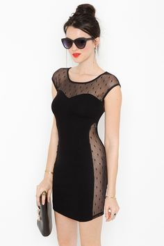 Sneak Peek Dress. Killer black scoop neck, body-con dress with dotted mesh detailing on front, back and sides.