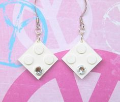 Geek Chic Earrings in White made from LEGO r Pieces by MoLGifts, $6.00