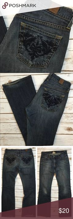 "Lucky Brand Jeans Sweet N Low Boot Embroidered 4 Tag Size - 4/27 Waist Measured Across - 15.5"" Inseam - 32"" Rise - 8.5"" There is a hole on the left knee and fray to the rear cuffs. Always open to reasonable offers! Lucky Brand Jeans Boot Cut"