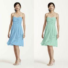 David's Bridal Short Crinkle Chiffon Dress With Front Cascade - Colors: Mint & Capri
