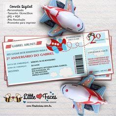 Convite Festa Cartão de Embarque Avião