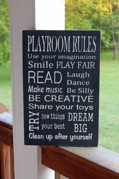 Playroom Rules Wood Sign Playroom Subway Sign by PreciousMiracles