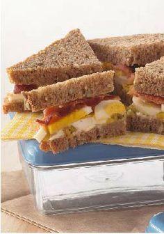 Layered Bacon & Egg Salad Sandwich