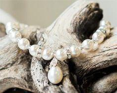 Very simply a lovely elegant teardrop pearl bracelet, especially for Brides not looking for a lot of sparkle, a single row of pearls with a teardrop pearl. Wedding Earrings, Wedding Jewelry, Wedding Bracelets, Lace Wedding, Wedding Dress, Crystal Bracelets, Sterling Silver Bracelets, Freshwater Pearl Bracelet, Pendant Earrings