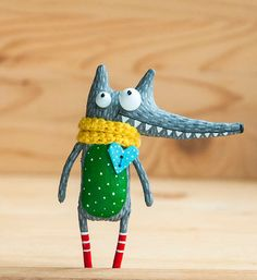 cheerful wolf by MarLitoys on Etsy