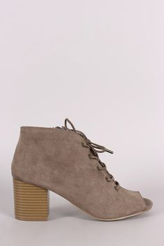 Look fabulous in Bamboo Suede Peep Toe Lace-Up Chunky Heeled Booties. You deserve it. Mid Calf Boots, Thigh High Boots, Ankle Boots, Chunky Heels, Wedge Sandals, Peep Toe, Oxford Shoes, Lace Up, Booty