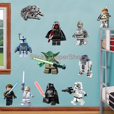 Captivating LEGO STAR WARS 11 CHARACTERS Decal Removable WALL STICKER Home Decor Art  Obi Wan In Home Idea