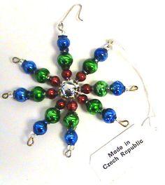 Blown Beaded Glass Green//Red//Gold Stick-Star Christmas Ornament  Czech Republic