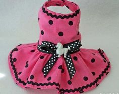 NEW Pet clothes XXXS PINK Black Dot puppy dog dress