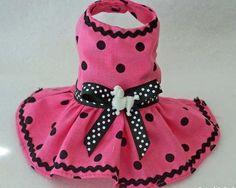 NEW Pet clothes XXXS PINK Black Dot puppy dog dress