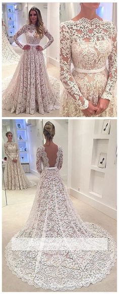 Bowknot Long-Sleeves A-Line Backless Lace Elegant Wedding Dress. I can't decide if I really like this or not. I honestly don't know what to think about this dress. It IS very elegant though.