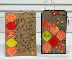 I punched squares out of colorful scraps, rounded the corners and used them on this card and...