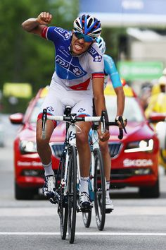 Thibaut Pinot of France and FDJ celebrates winning stage six of the 2016 Criterium du Dauphine, a 141km stage from La Rochette to Meribel, on June 11, 2016 in Meribel, France.