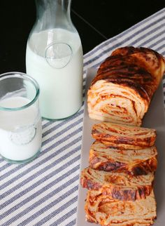 Cheddar Sriracha Babka Bread (click right, past the milk ad)