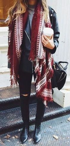 #winter #fashion / leather + oversized scarf