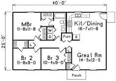 House Plan - 3 Beds 1 Baths 1000 Sq/Ft Plan #57-221 Floor Plan - Main Floor Plan - Houseplans.com