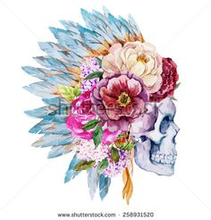 watercolor, vector, flowers, skull, peony, boho, - stock vector