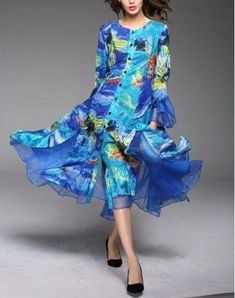 9b322203ecd Jerry T Blue Stretchy Dress 2X 22 24 SR113. Plus Size Treats