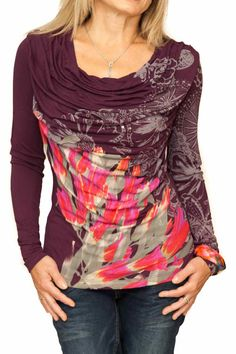 """Buy online Desigual T-Shirt """"Orense"""", style 48T2492. Knitted long sleeves purple top with unique neckline and floral design. Different prints on sleeves."""