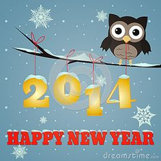 Owl Happy new year 2014 by Okolaa, via Dreamstime