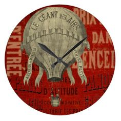 Steampunk Hot Air Ballon Ride Graphic Fonts in Red Large Clock - antique gifts stylish cool diy custom