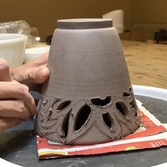 Timelapse of the first stage of a new vase carving based on vintage, floral kimono patterns by Ashley Keller