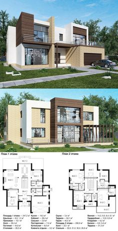 Modern home design 2 Storey House Design, Double Storey House, Bungalow House Design, Modern House Design, Contemporary House Plans, Modern House Plans, House Floor Plans, Modern Floor Plans, Autocad Architecture