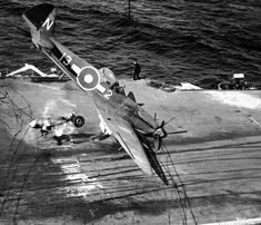 """fcba: """" A Seafire of the Royal Navy smashes into the deck of a carrier during the Second World War. (Photo) """""""